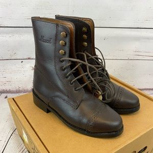 Mascot Equestrian Lace Up Leather Boots
